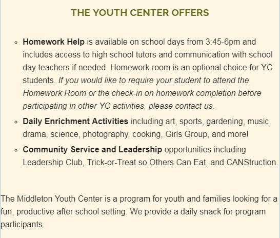 The Youth Center Offers