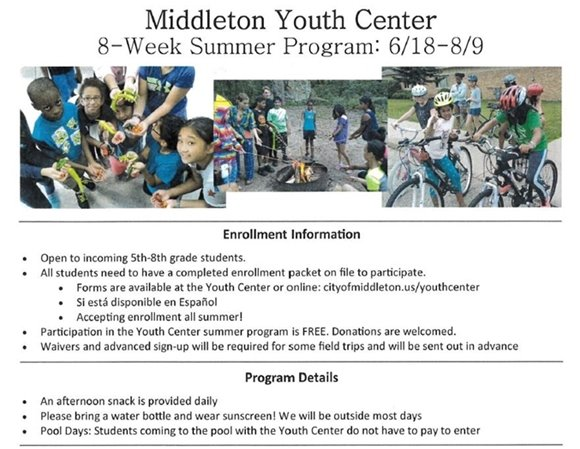 Youth Center Summer 2018 Enrollment Information and Program Details