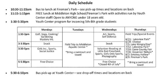 Youth Center Summer 2018 Daily Schedule