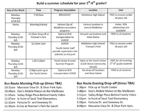 Youth Center Summer 2018 Schedule and Bus Route