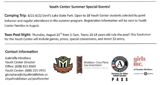 Youth Center Summer 2018 Special Events