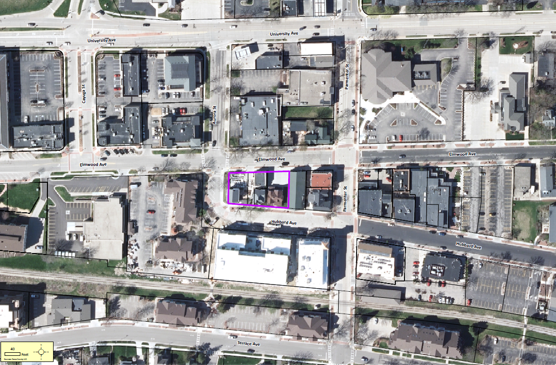 Aerial photograph showing the location of the downtown plaza.