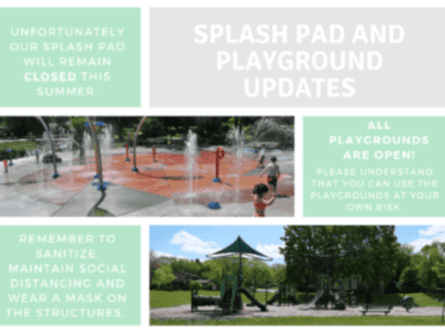 Splash pad and playground updates post